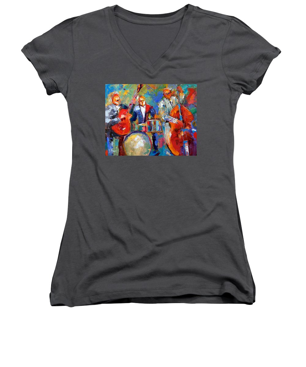 Jazz Painting Women's V-Neck T-Shirt featuring the painting Guitar Drums And Bass by Debra Hurd