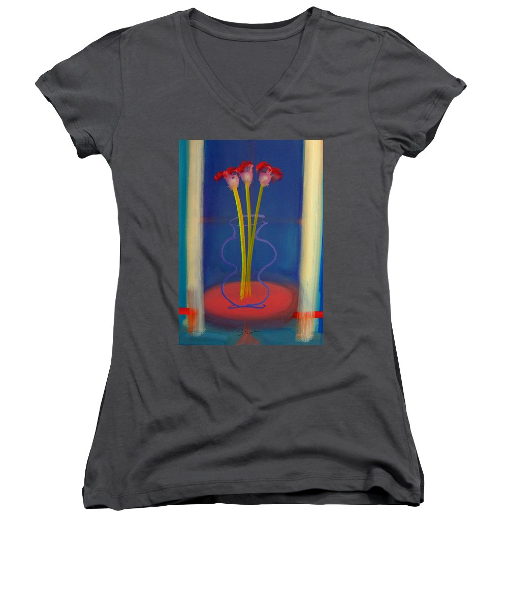 Guitar Women's V-Neck T-Shirt featuring the painting Guitar Vase by Charles Stuart