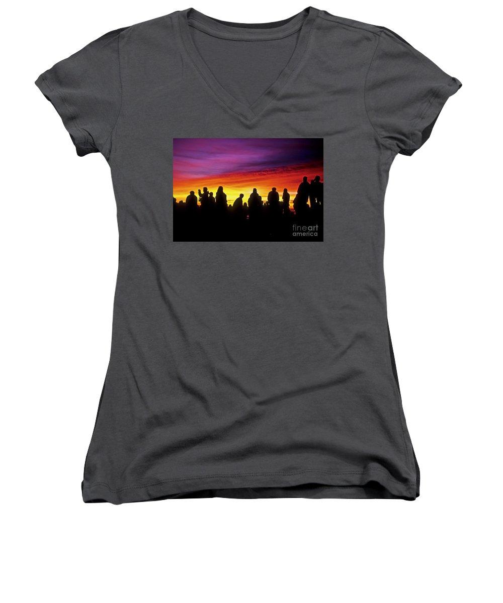 Haleakala Sunrise Women's V-Neck T-Shirt featuring the photograph Haleakala Color Show by Jim Cazel