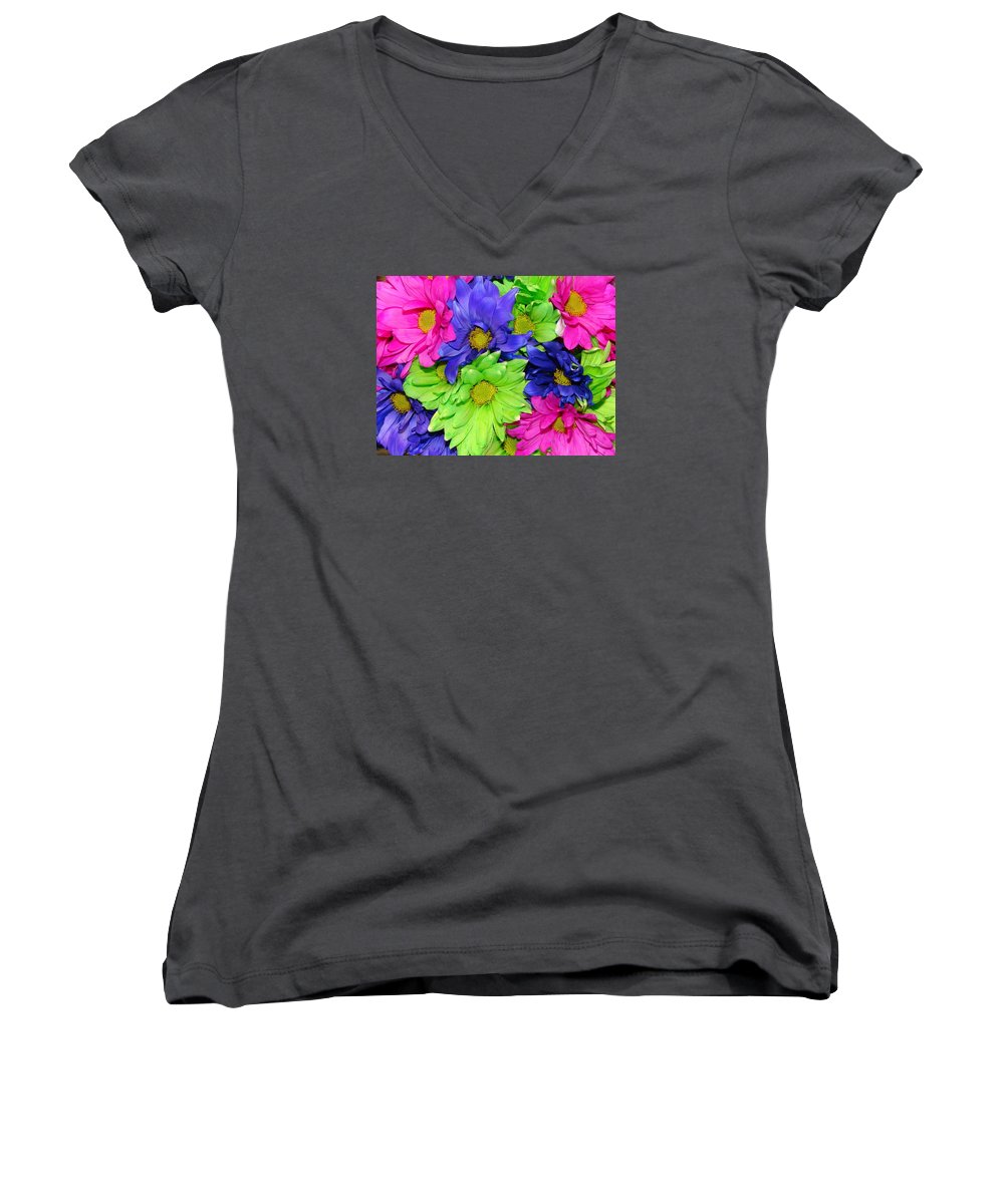 Flowers Women's V-Neck T-Shirt featuring the photograph Happiness by J R  Seymour