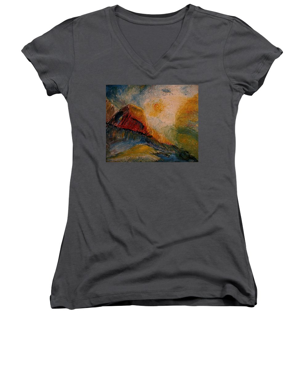 Rede Women's V-Neck T-Shirt featuring the painting Harvast by Jack Diamond