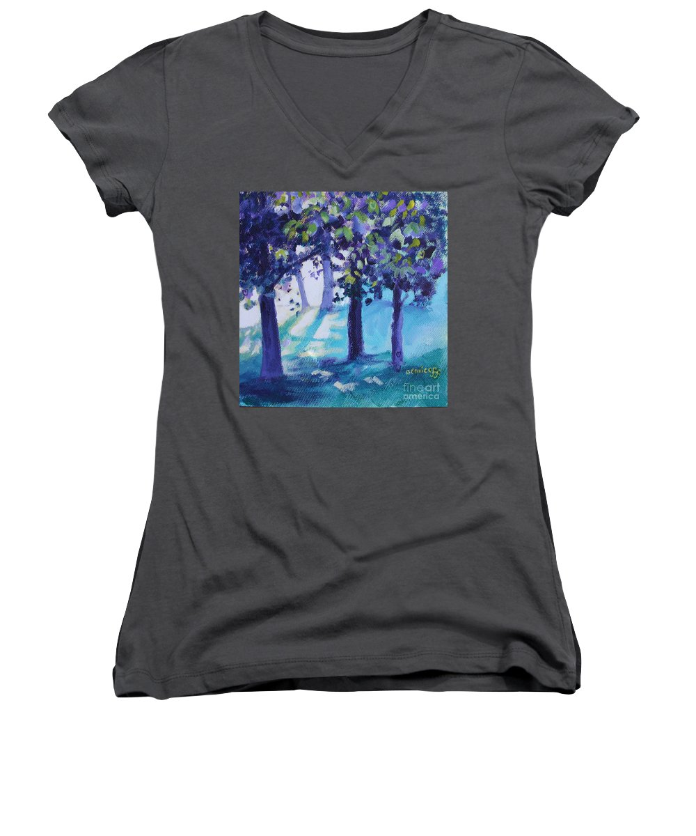 Expressionist Women's V-Neck T-Shirt featuring the painting Heart Of The Forest by Jan Bennicoff
