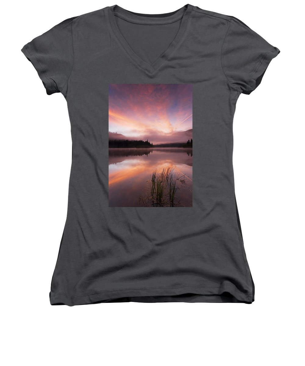 Sunrise Women's V-Neck T-Shirt featuring the photograph Heavenly Skies by Mike Dawson