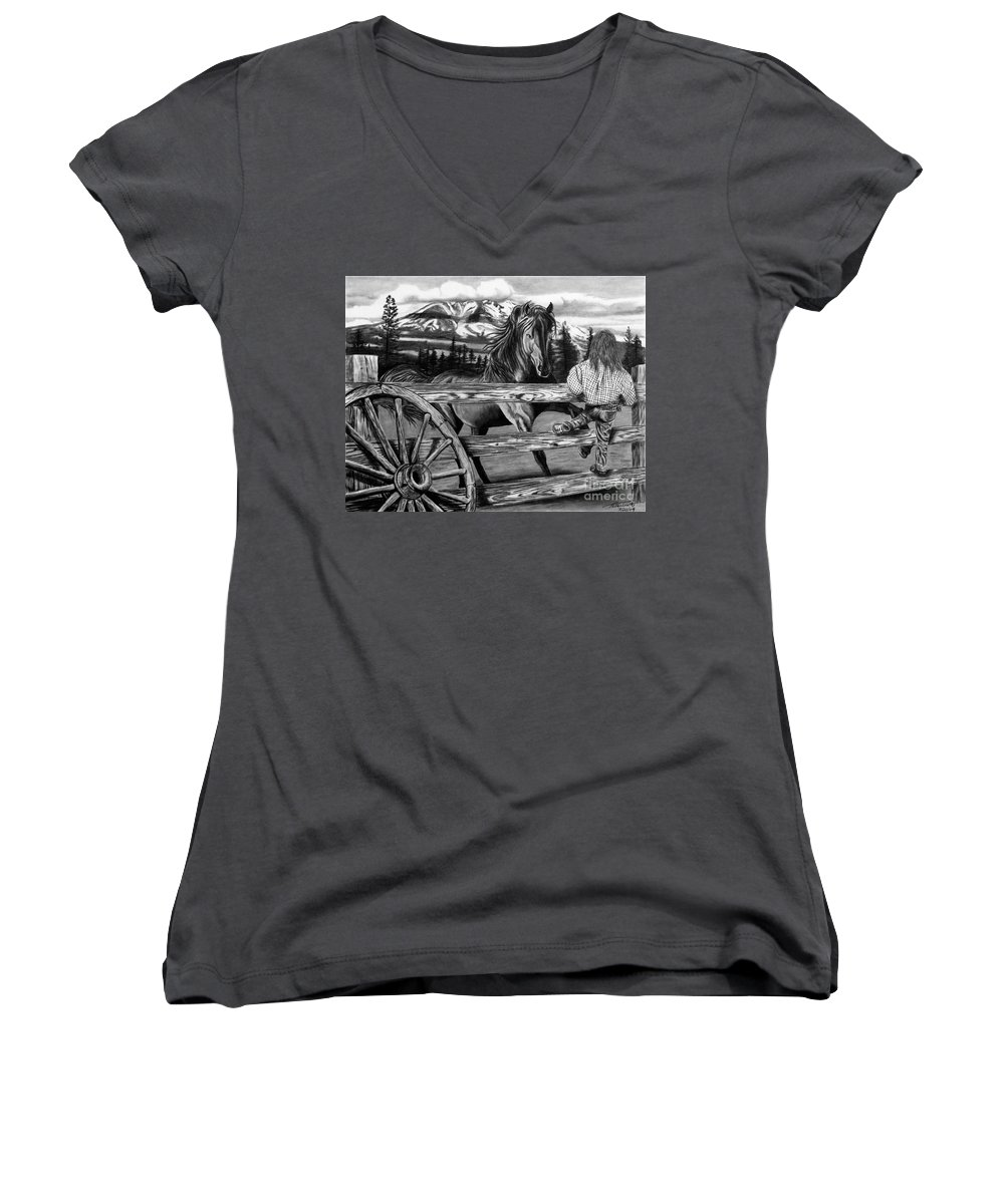 Hello Girl Women's V-Neck (Athletic Fit) featuring the drawing Hello Girl by Peter Piatt