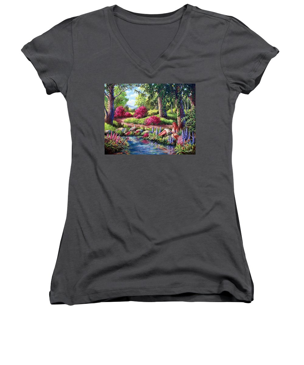 Read Women's V-Neck T-Shirt featuring the painting Her Reading Hideaway by David G Paul
