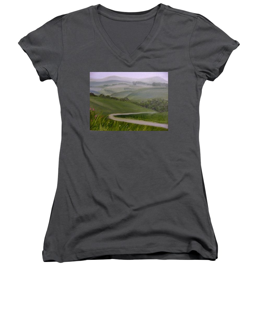 Pathway Women's V-Neck T-Shirt featuring the painting Highway Into The Hills by Toni Berry