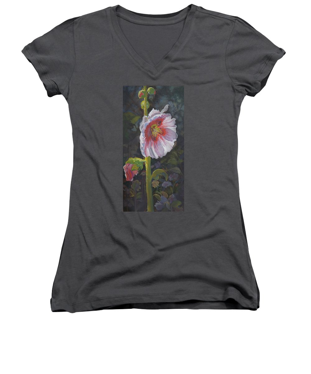 Flower Women's V-Neck T-Shirt featuring the painting Hollyhock by Heather Coen