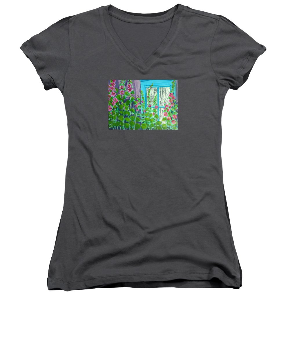Hollyhocks Women's V-Neck T-Shirt featuring the painting Hollyhock Surprise by Laurie Morgan