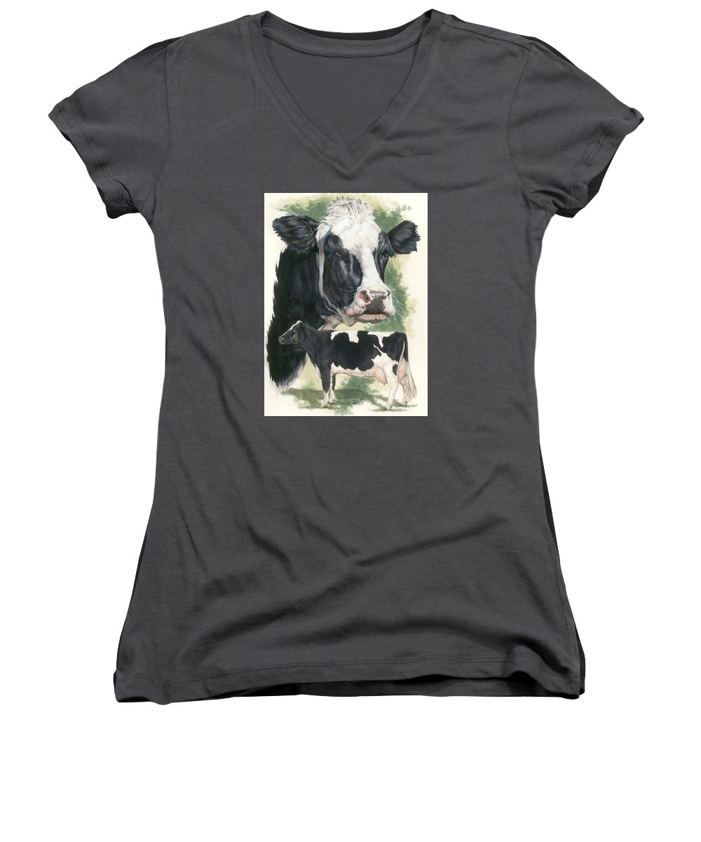 Cow Women's V-Neck T-Shirt featuring the mixed media Holstein by Barbara Keith