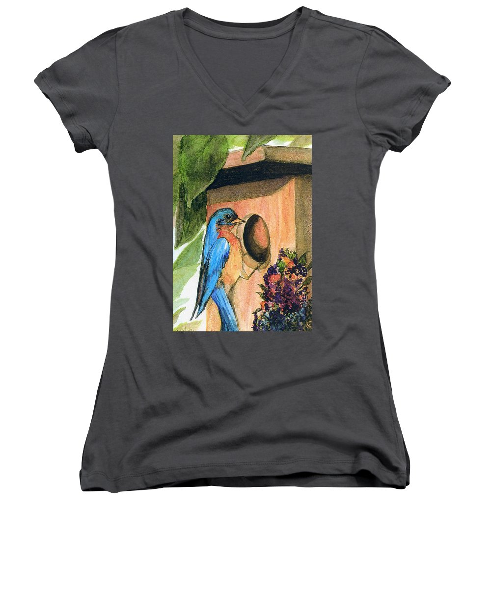 Bluebirds Women's V-Neck (Athletic Fit) featuring the painting Home Sweet Home by Gail Kirtz