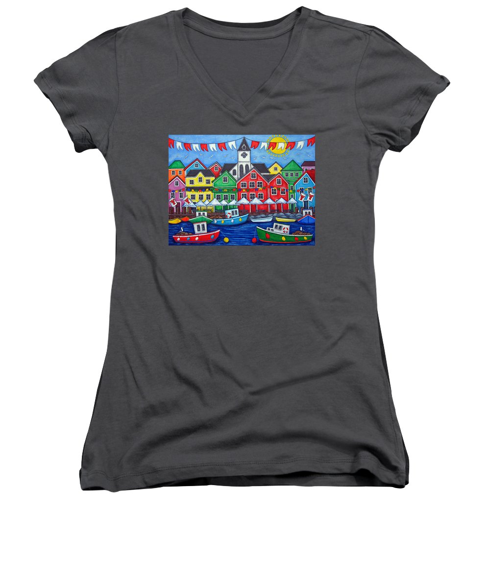 Boats Canada Colorful Docks Festival Fishing Flags Green Harbor Harbour Women's V-Neck (Athletic Fit) featuring the painting Hometown Festival by Lisa Lorenz