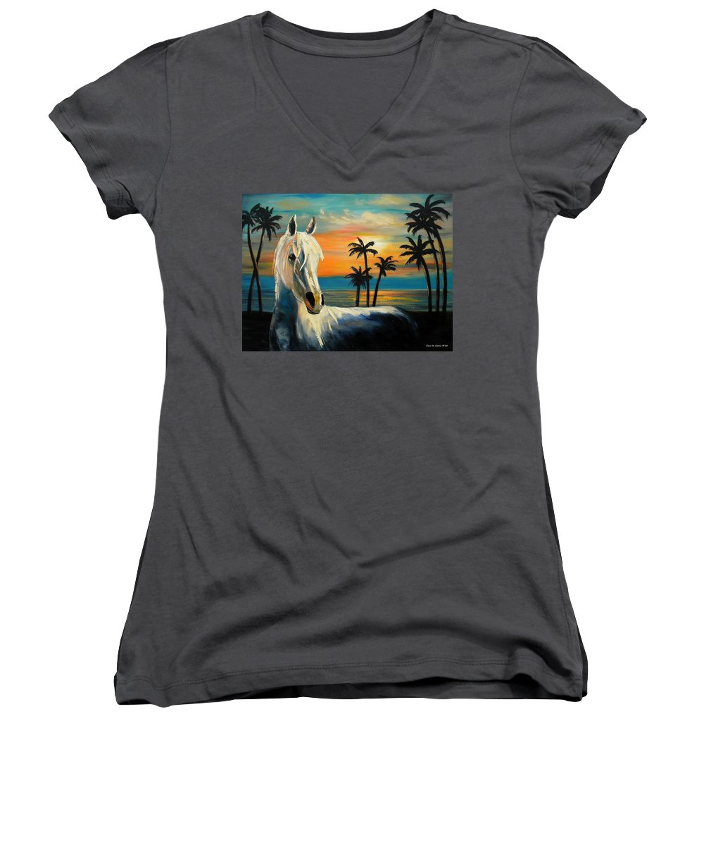 Horse Women's V-Neck (Athletic Fit) featuring the painting Horses In Paradise Tell Me Your Dream by Gina De Gorna