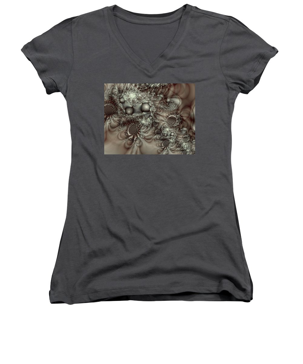 Green Women's V-Neck (Athletic Fit) featuring the digital art Hot Chocolate Possibilities by Casey Kotas