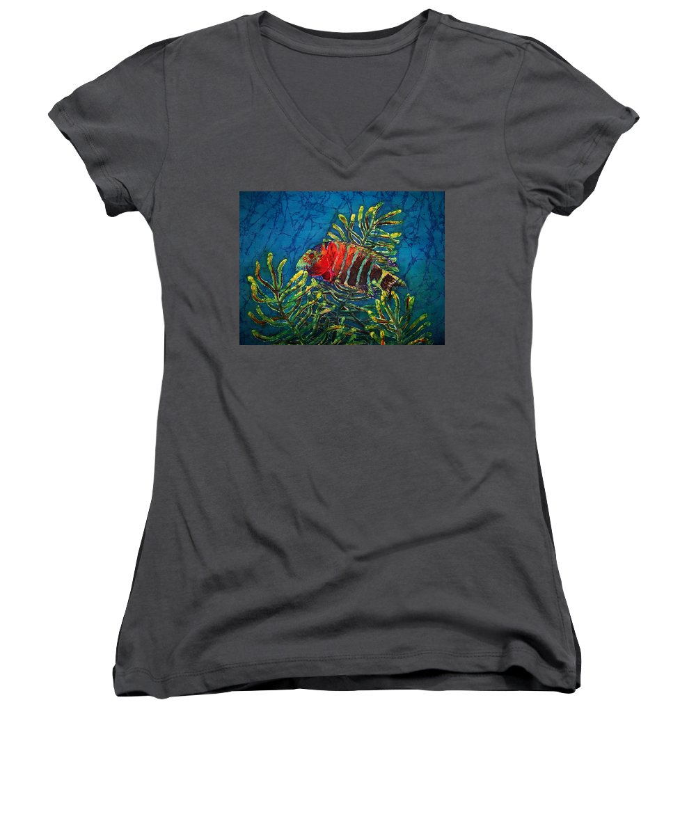 Fish Women's V-Neck T-Shirt featuring the painting Hovering - Red Banded Wrasse by Sue Duda