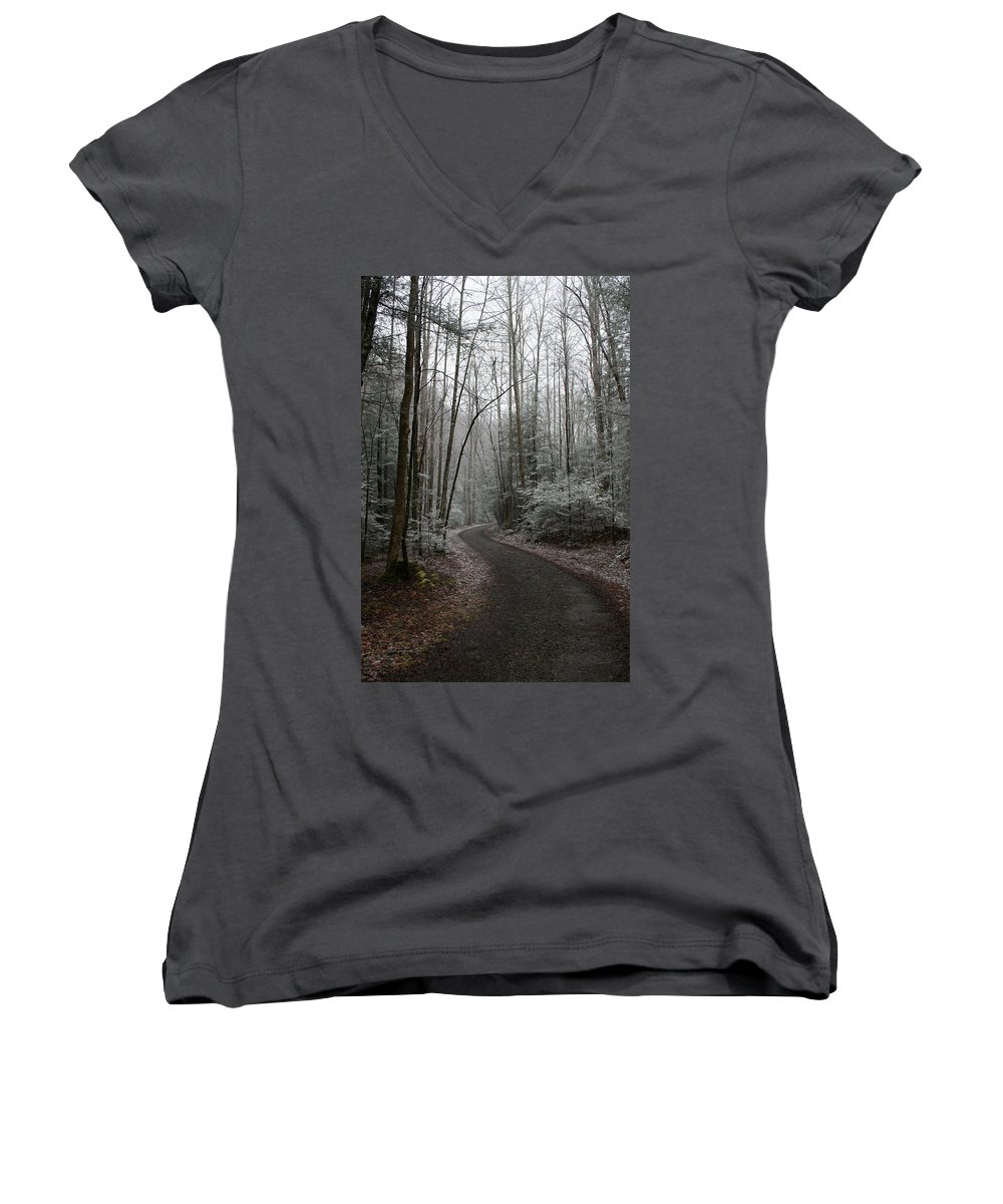 Nature Road Country Woods Forest Tree Trees Snow Winter Peaceful Quite Path White Forest Drive Women's V-Neck T-Shirt featuring the photograph I Am The Way by Andrei Shliakhau