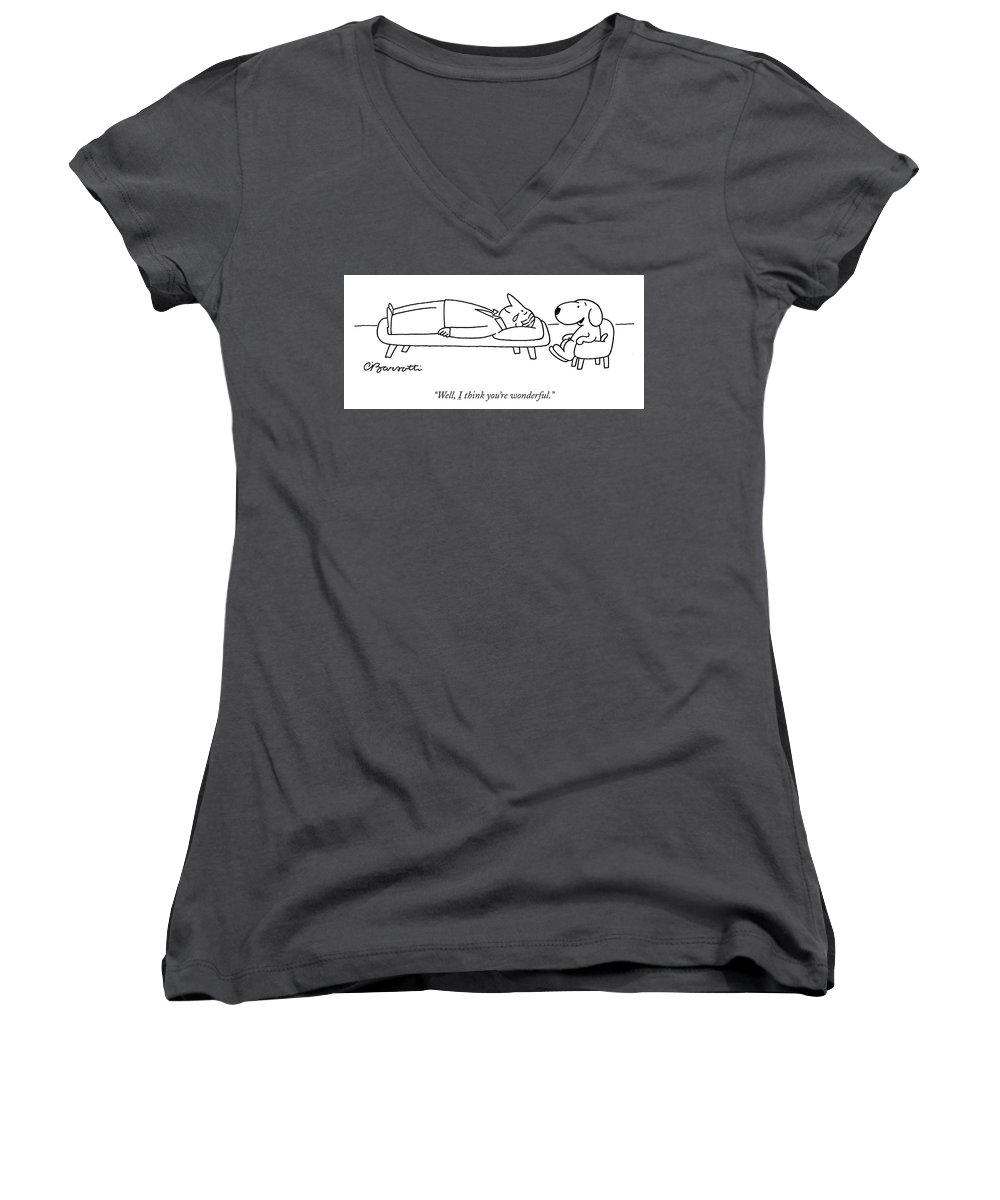 """well Women's V-Neck featuring the drawing I Think You Are Wonderful by Charles Barsotti"