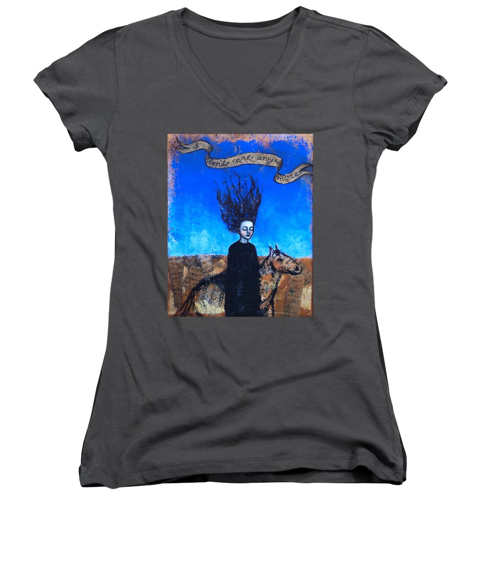 Women's V-Neck (Athletic Fit) featuring the painting Idontcareanymore by Pauline Lim