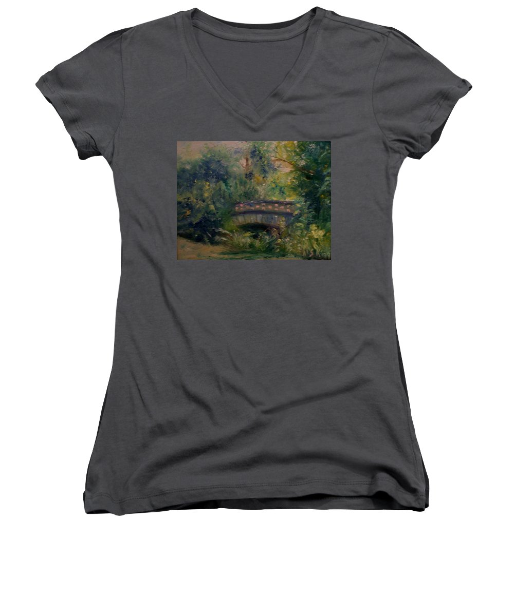 Landscape Women's V-Neck T-Shirt featuring the painting In The Park by Stephen King