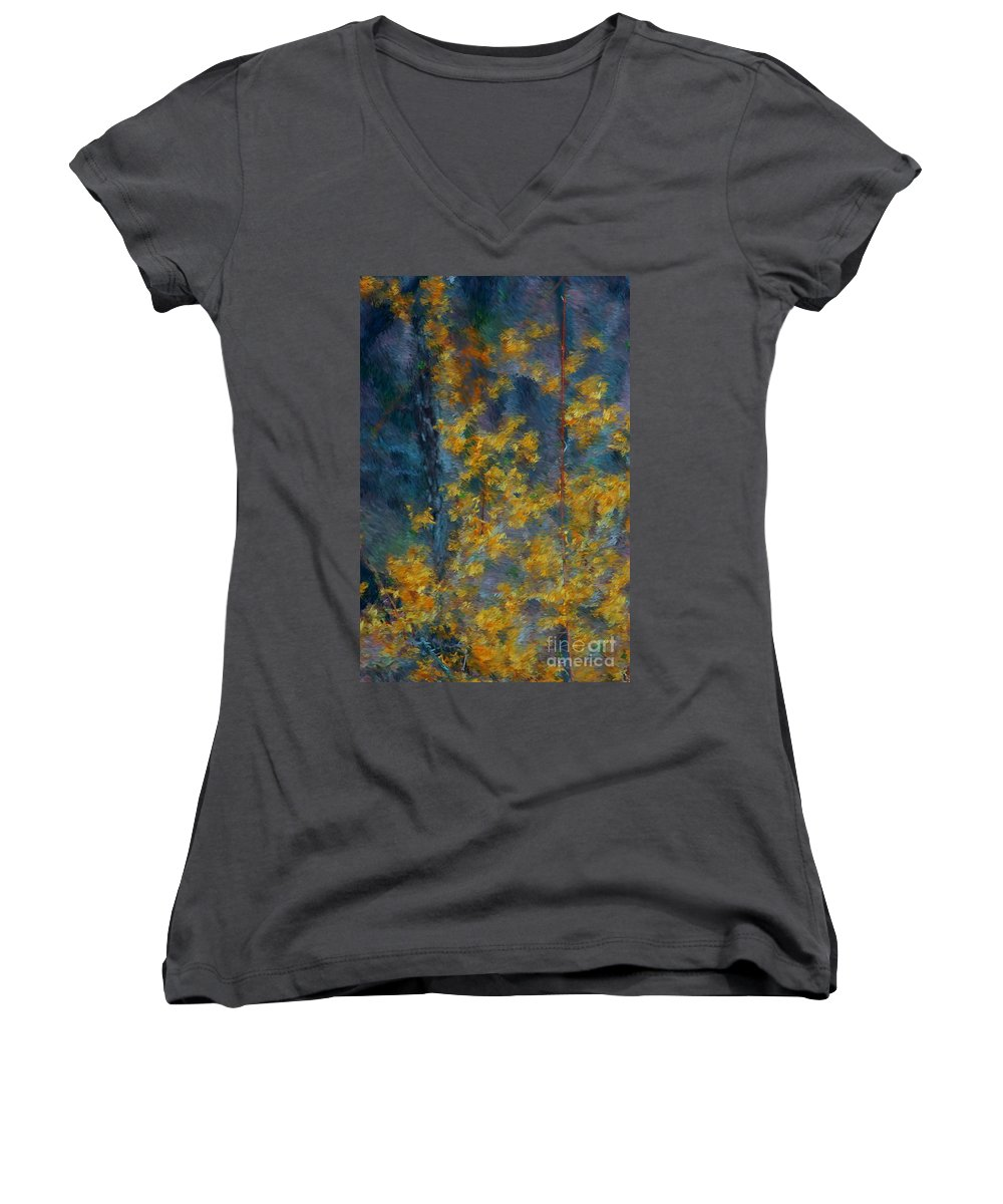 Women's V-Neck T-Shirt featuring the photograph In The Woods by David Lane