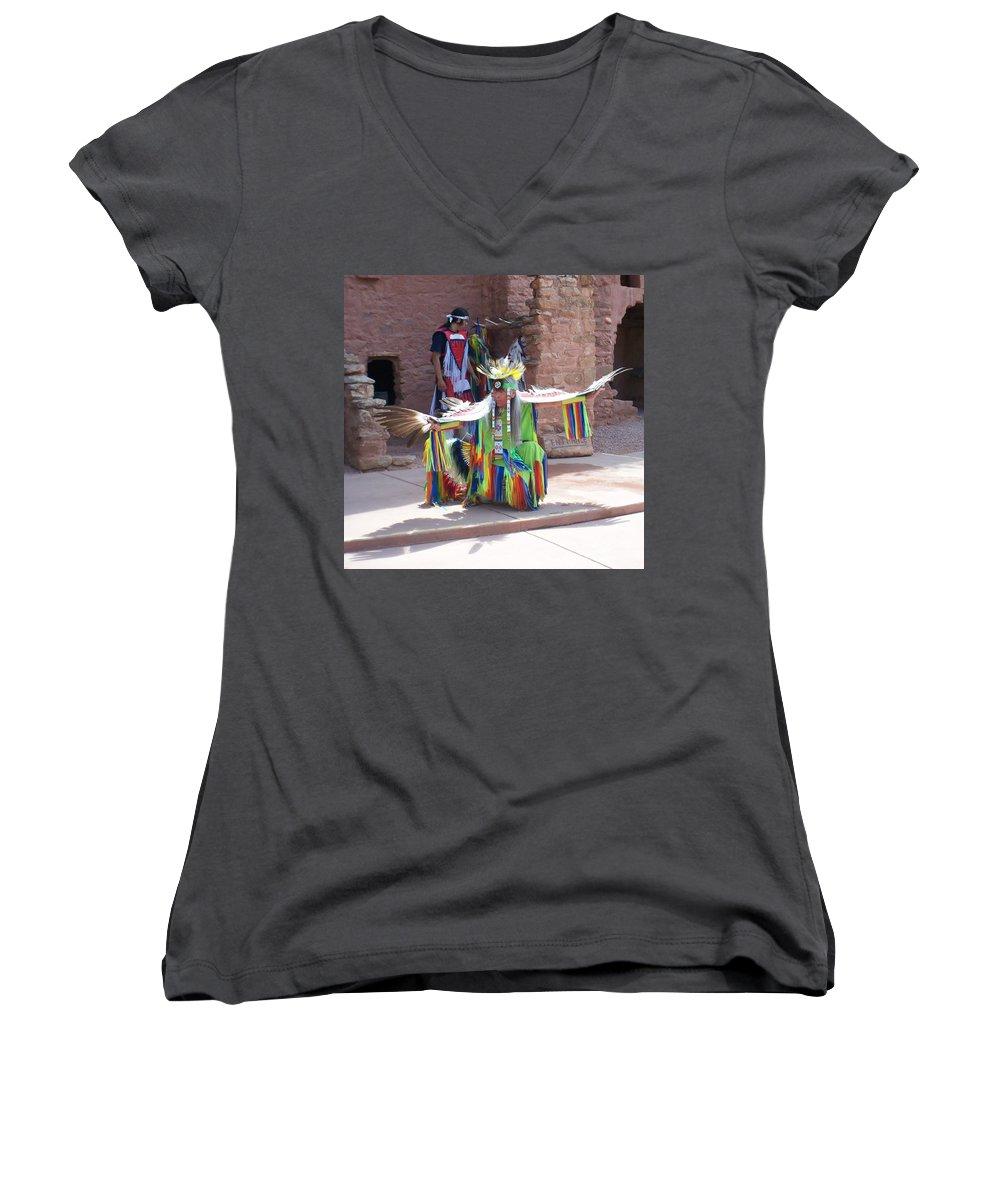 Indian Dancer Women's V-Neck T-Shirt featuring the photograph Indian Dancer by Anita Burgermeister