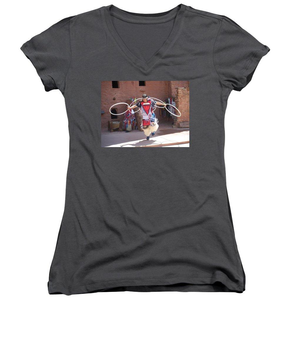 Indian Dancer Women's V-Neck T-Shirt featuring the photograph Indian Hoop Dancer by Anita Burgermeister