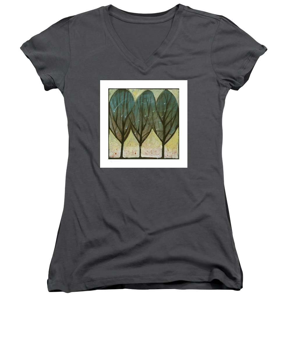 Trees Women's V-Neck (Athletic Fit) featuring the painting Indian Summer Snow by Tim Nyberg