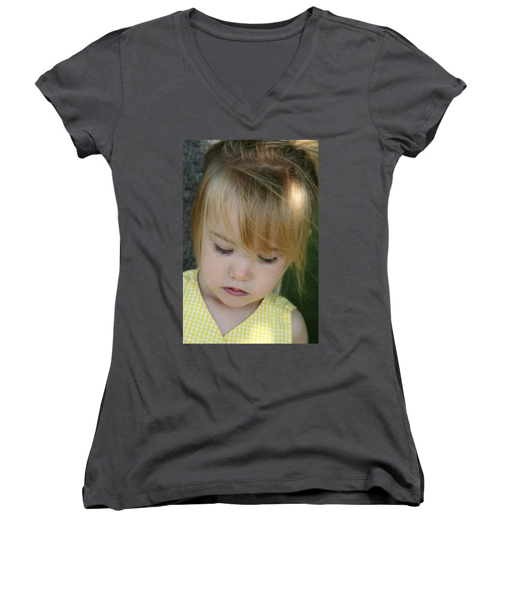 Angelic Women's V-Neck T-Shirt featuring the photograph Innocence II by Margie Wildblood