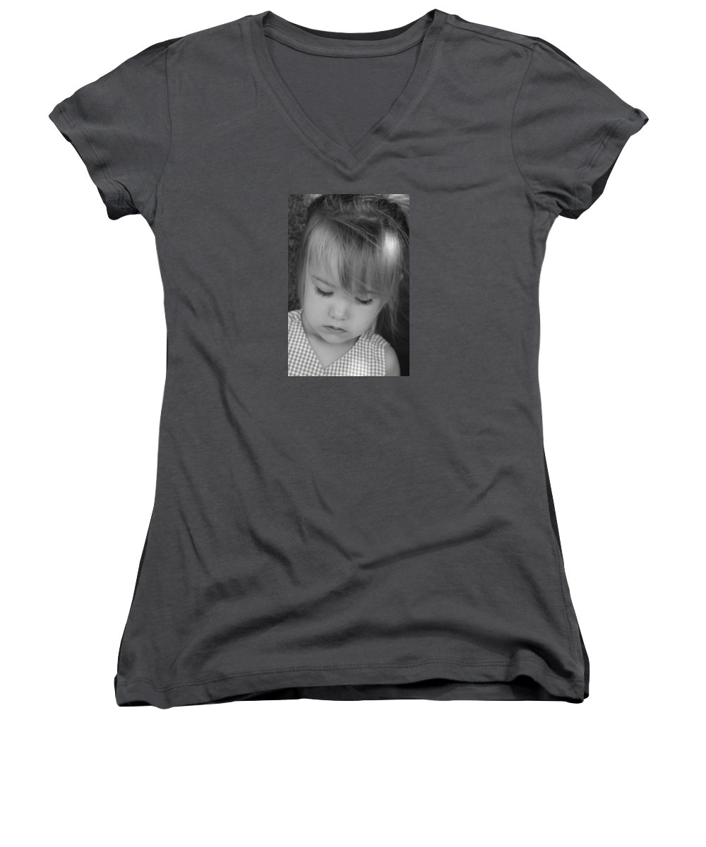 Angelic Women's V-Neck T-Shirt featuring the photograph Innocence by Margie Wildblood