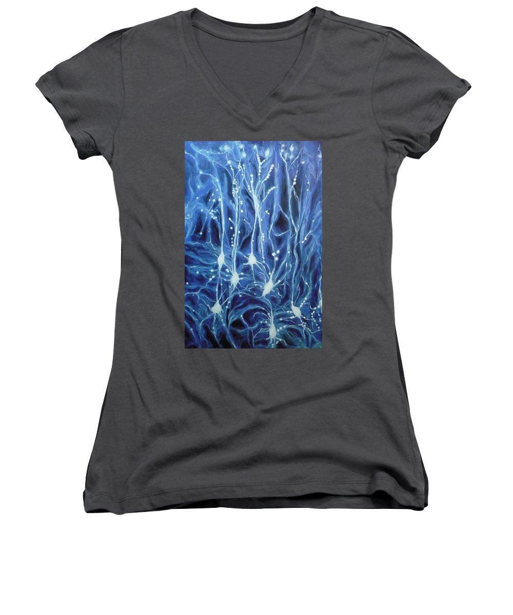 Brain Cell Women's V-Neck T-Shirt featuring the painting Inside The Brain by Ericka Herazo
