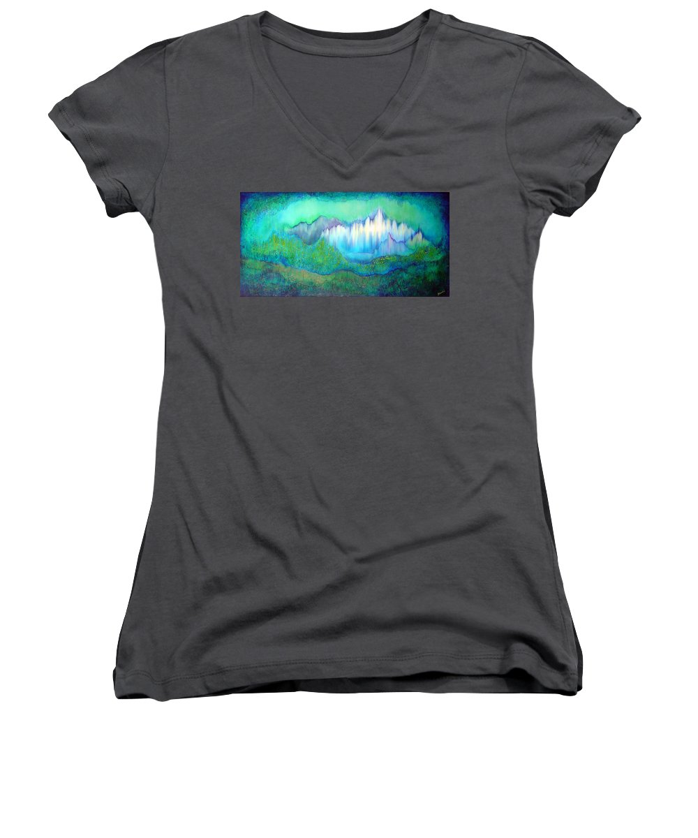 Blue Women's V-Neck (Athletic Fit) featuring the painting Into The Ocean by Shadia Derbyshire