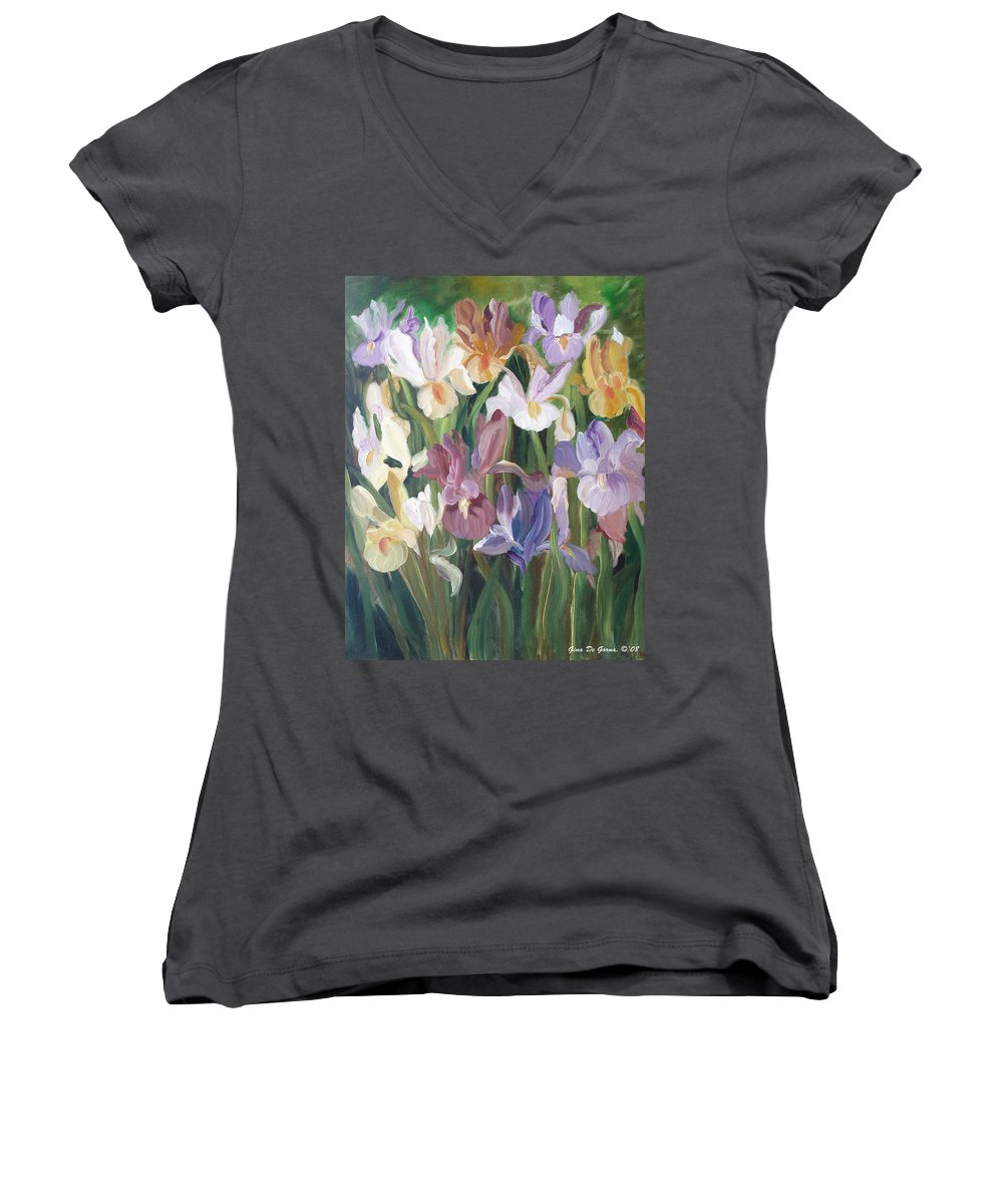 Irises Women's V-Neck T-Shirt featuring the painting Irises by Gina De Gorna