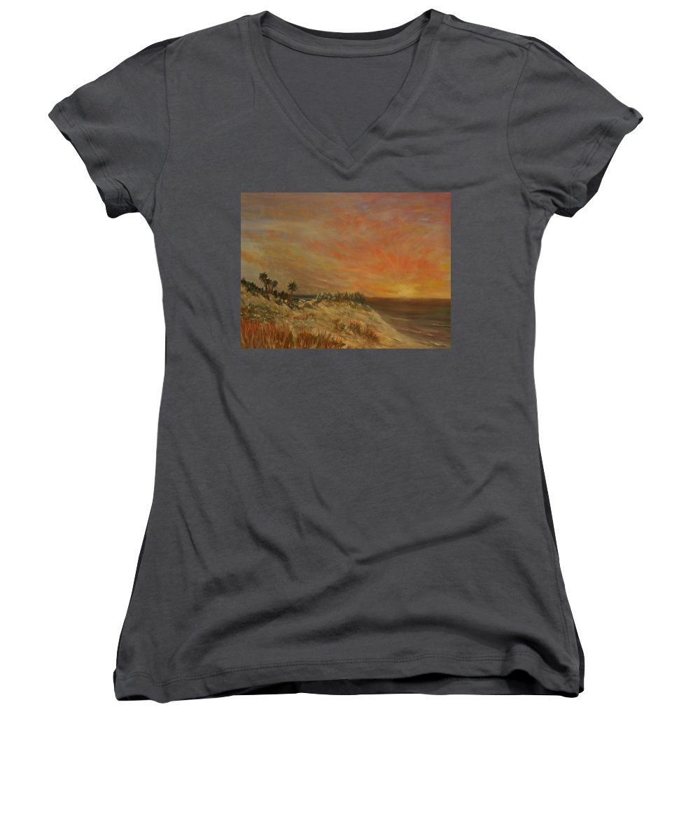 Sunset;beach;ocean;palm Trees Women's V-Neck T-Shirt featuring the painting Island Sunset by Ben Kiger