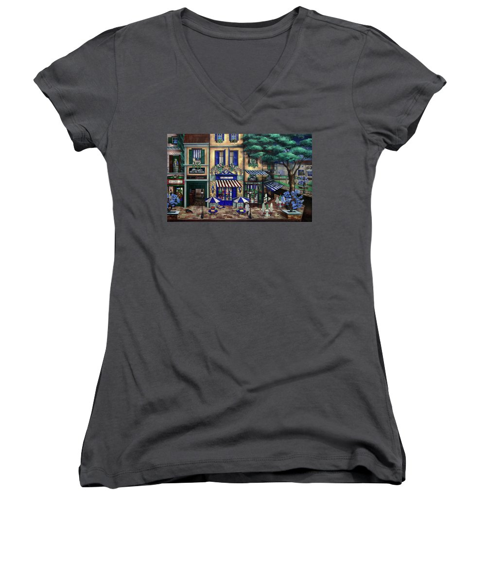 Italian Women's V-Neck T-Shirt featuring the mixed media Italian Cafe by Curtiss Shaffer