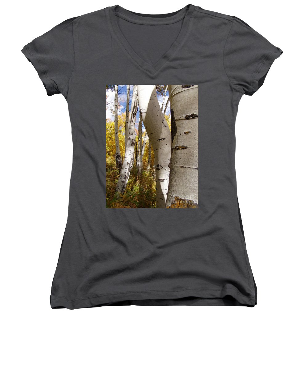 Trees Women's V-Neck T-Shirt featuring the photograph Jackson Hole Wyoming by Amanda Barcon