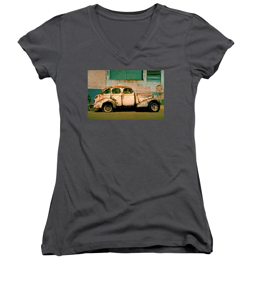 Skip Women's V-Neck (Athletic Fit) featuring the photograph Jalopy by Skip Hunt