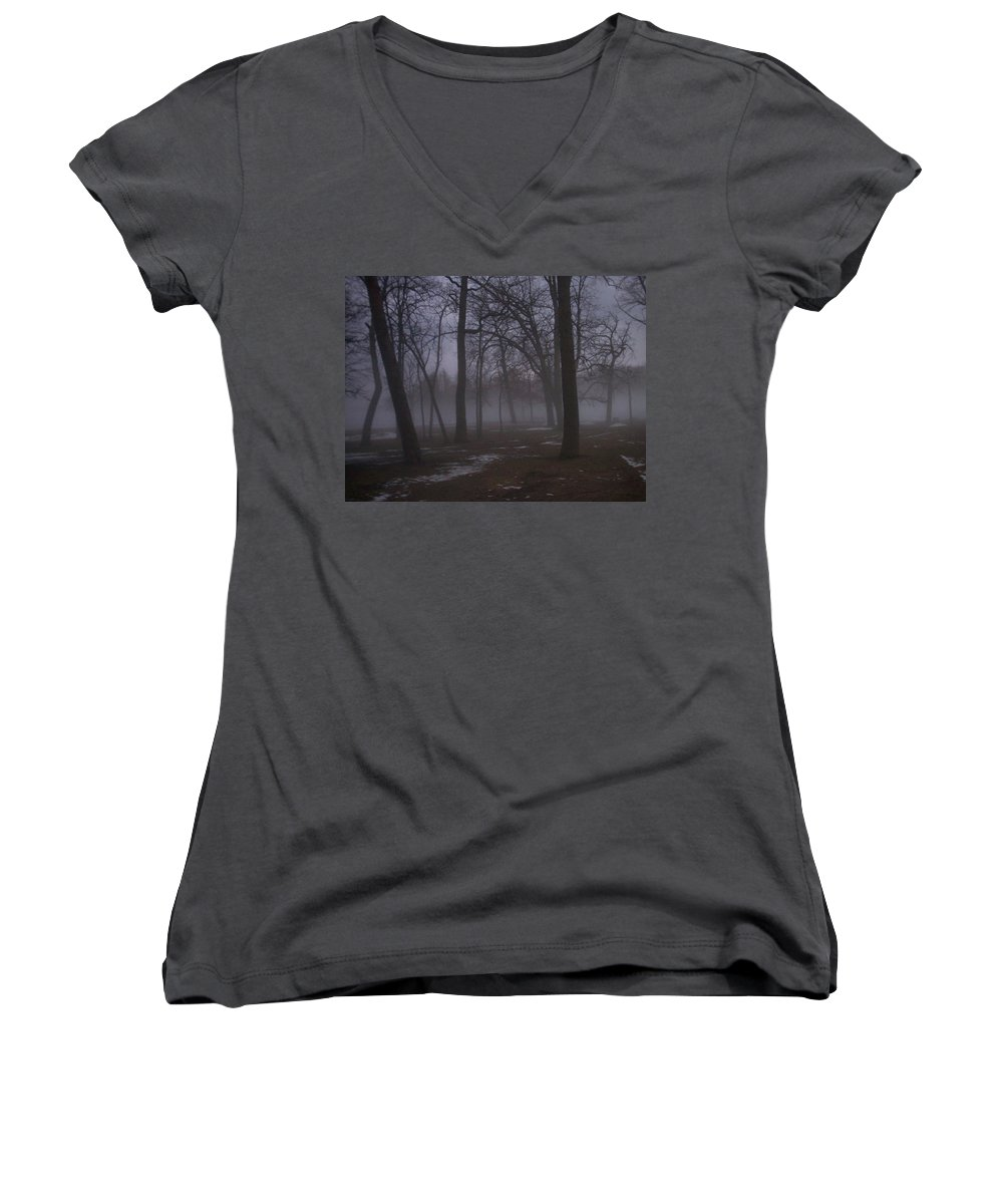 January Women's V-Neck T-Shirt featuring the photograph January Fog 2 by Anita Burgermeister