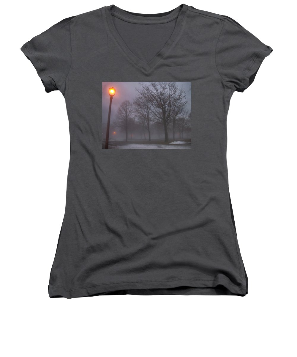 January Women's V-Neck (Athletic Fit) featuring the photograph January Fog 3 by Anita Burgermeister