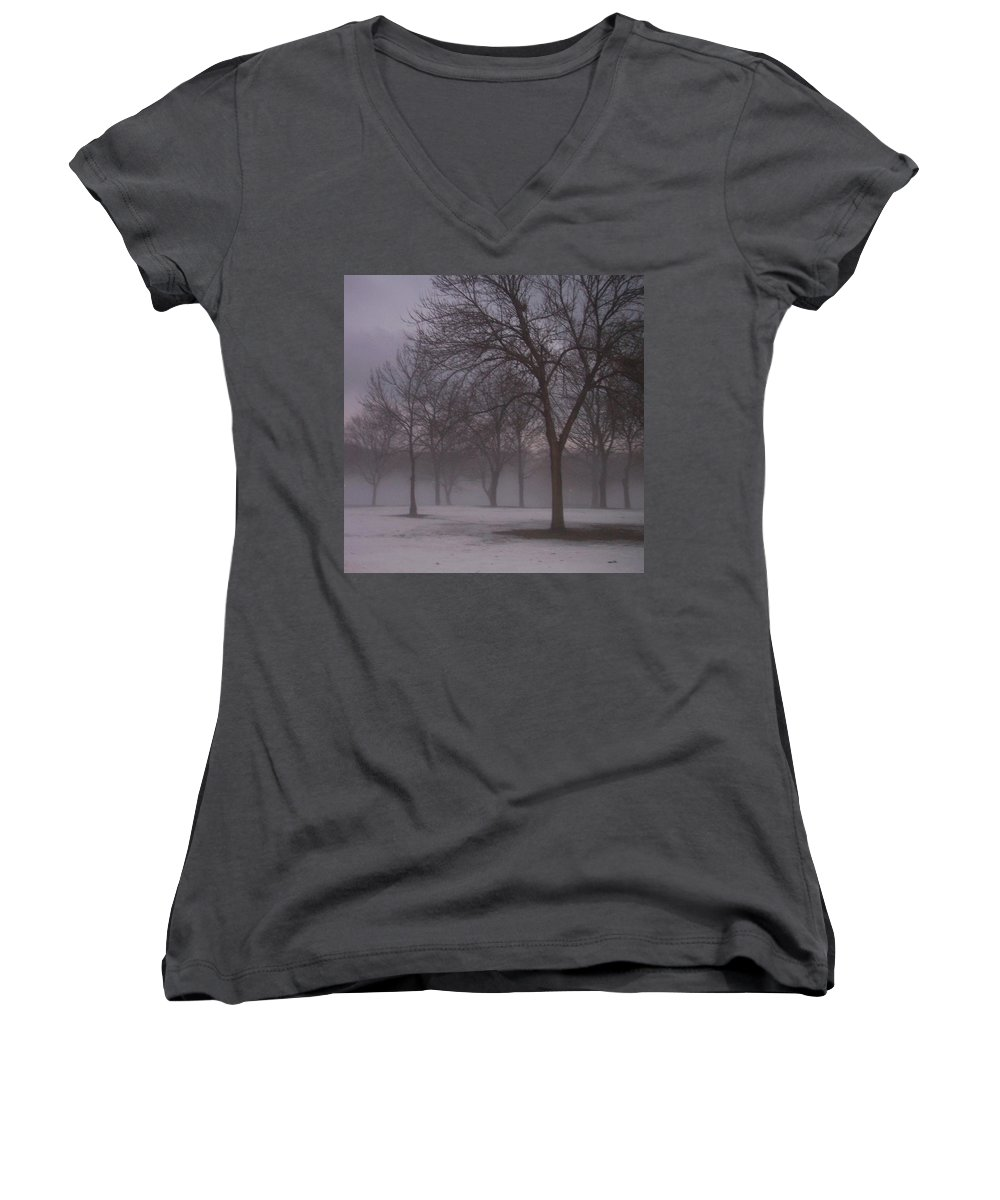 January Women's V-Neck (Athletic Fit) featuring the photograph January Fog 4 by Anita Burgermeister