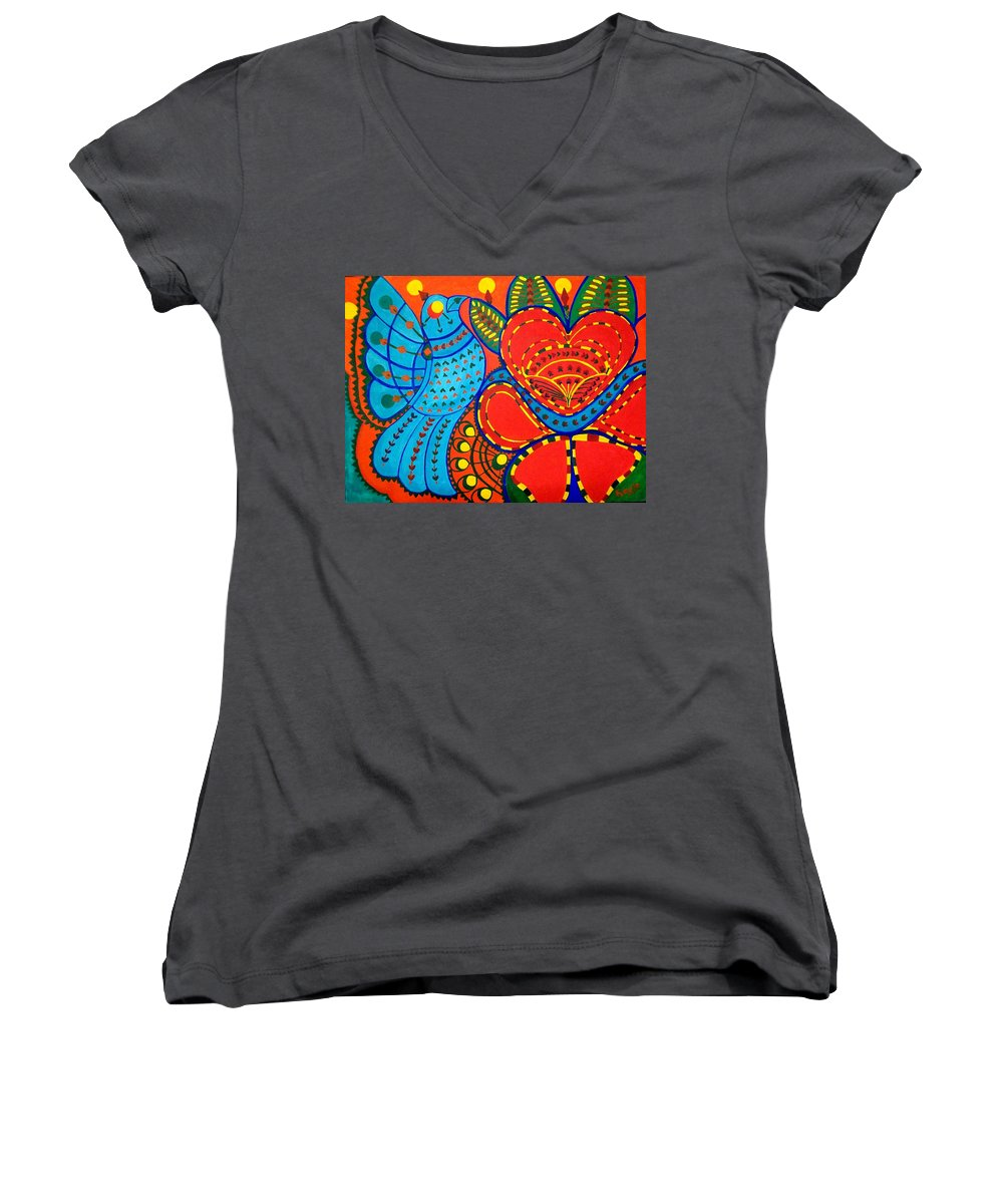 Contemporary Folk Women's V-Neck (Athletic Fit) featuring the painting Jinga Bird - Jinga Bird Series by Fareeha Khawaja