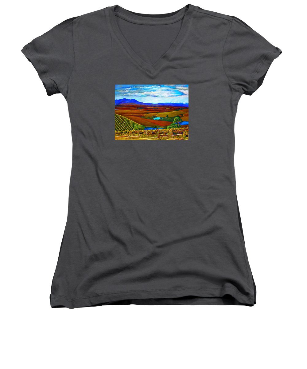 Vineyard Women's V-Neck (Athletic Fit) featuring the painting Jordan Vineyard by Michael Durst