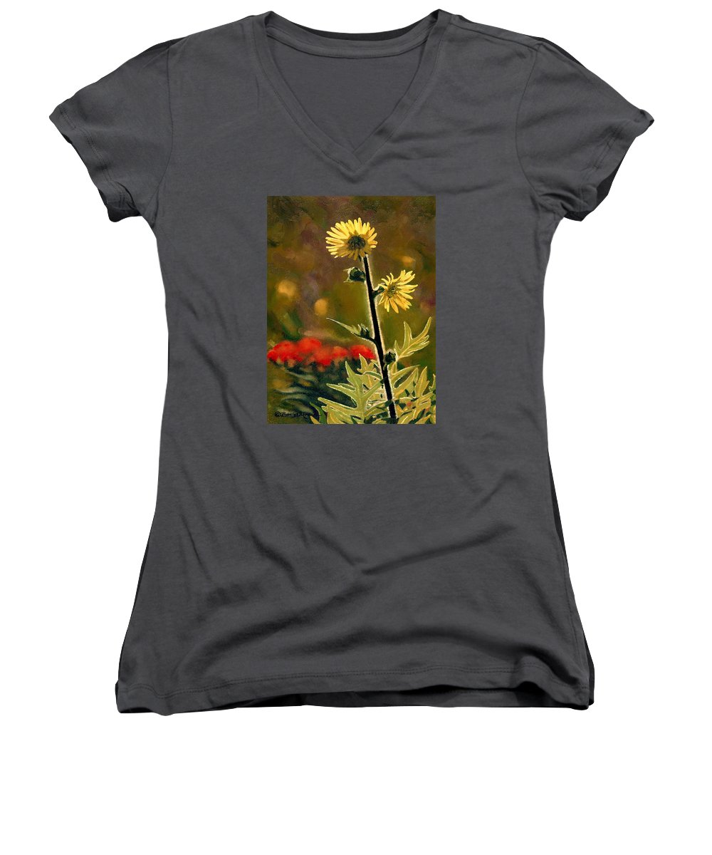 Prairie Flowers Women's V-Neck (Athletic Fit) featuring the painting July Afternoon-compass Plant by Bruce Morrison