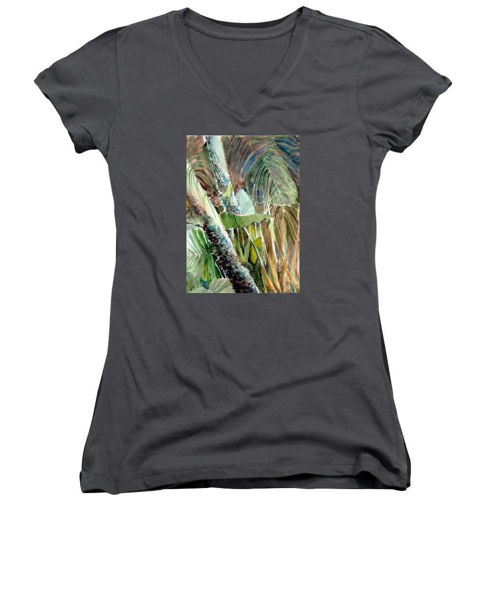 Palm Tree Women's V-Neck (Athletic Fit) featuring the painting Jungle Light by Mindy Newman