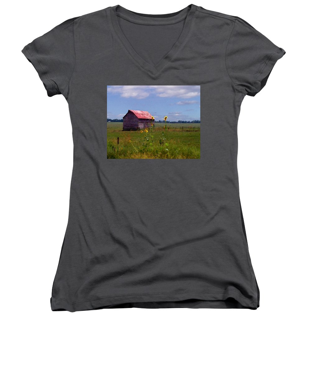 Lanscape Women's V-Neck T-Shirt (Junior Cut) featuring the photograph Kansas Landscape by Steve Karol