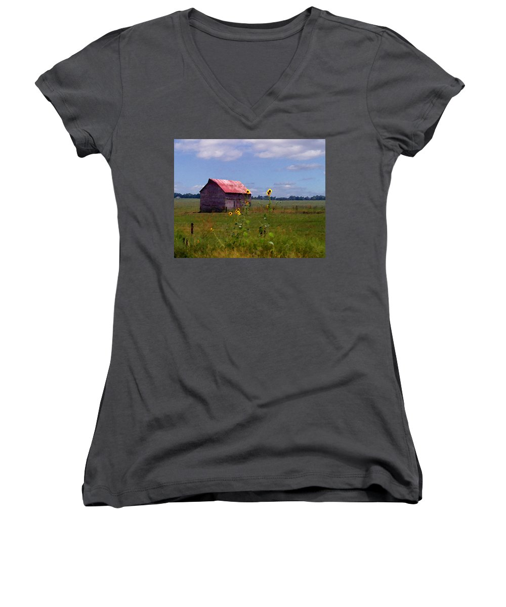 Landscape Women's V-Neck (Athletic Fit) featuring the photograph Kansas Landscape by Steve Karol