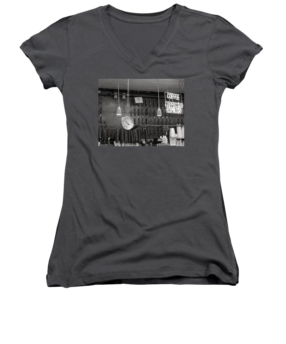 Deli Women's V-Neck T-Shirt featuring the photograph Katz Deli by Debbi Granruth