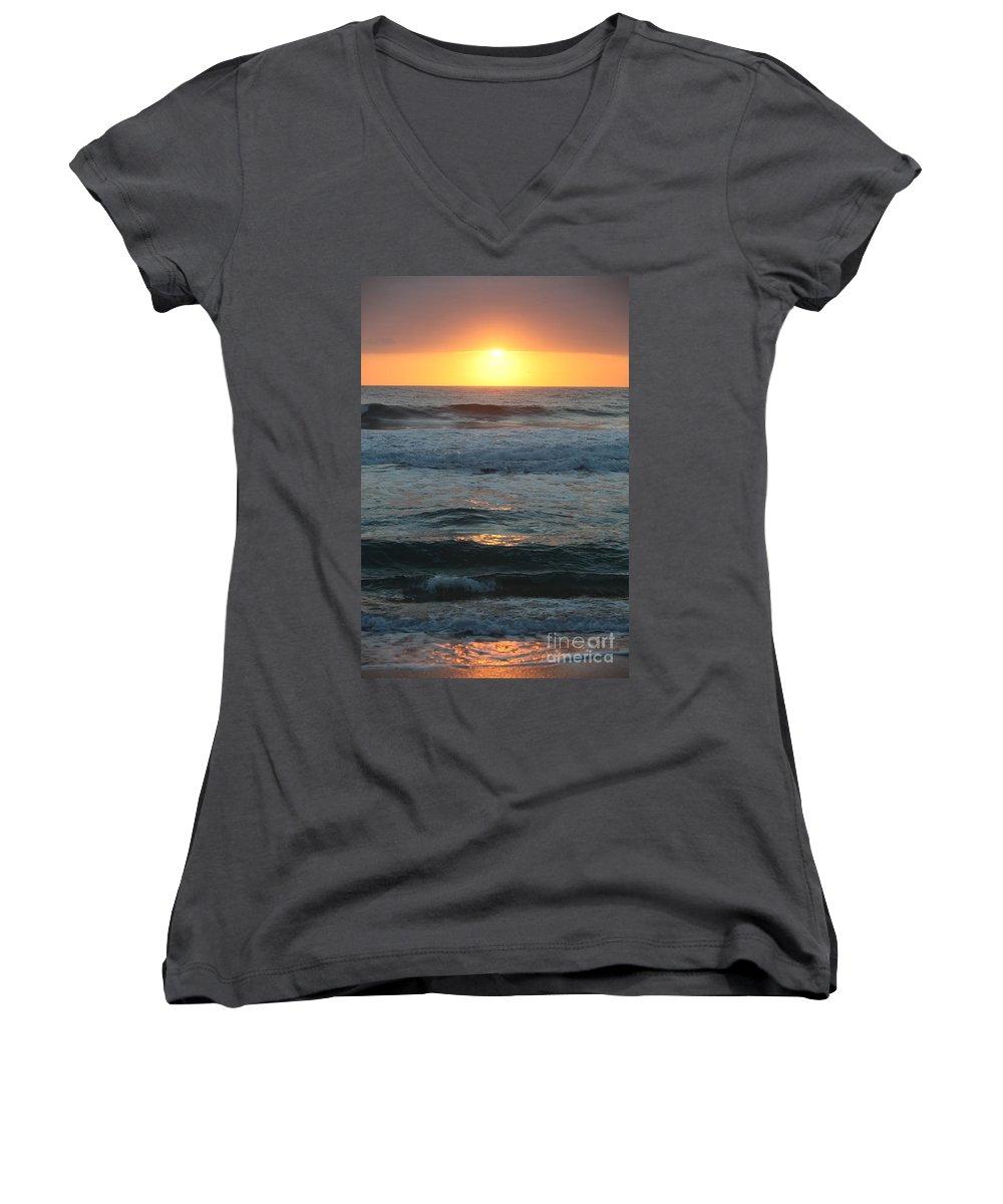 Kauai Women's V-Neck (Athletic Fit) featuring the photograph Kauai Sunrise by Nadine Rippelmeyer