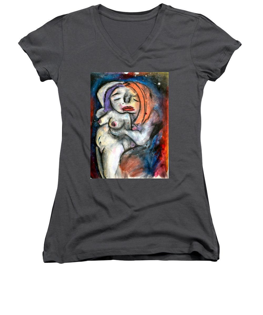 Nudes Women's V-Neck (Athletic Fit) featuring the drawing Kiss by Thomas Valentine