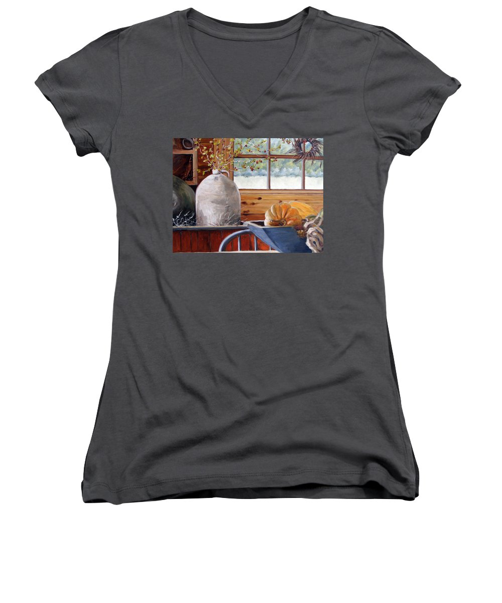 Kitchen Women's V-Neck T-Shirt featuring the painting Kitchen Scene by Richard T Pranke