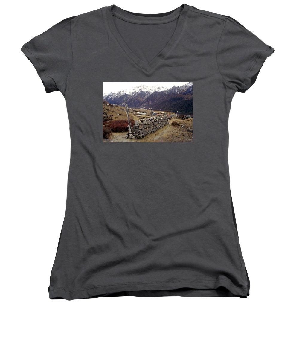 Langtang Women's V-Neck T-Shirt featuring the photograph Kyanjin Gompa by Patrick Klauss