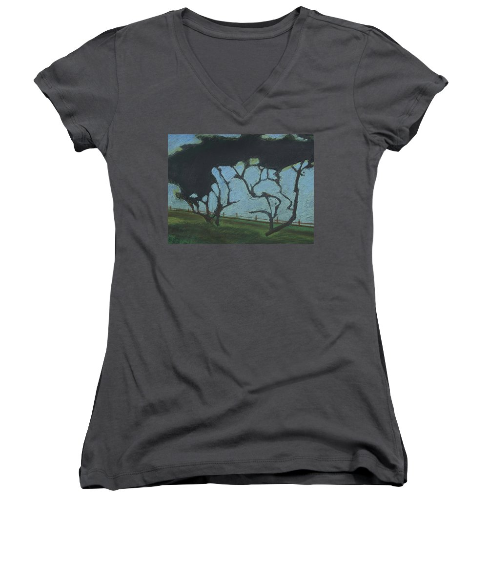 Contemporary Tree Landscape Women's V-Neck (Athletic Fit) featuring the mixed media La Jolla IIi by Leah Tomaino